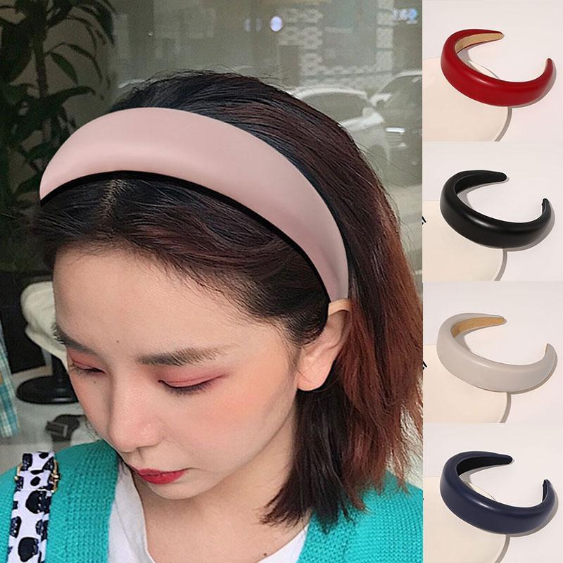 Аксессуары для волос Lady Hoop Top PU Turban Headband Эластичная волоска для девочек Без скольжения Пребывание на Губке Глава