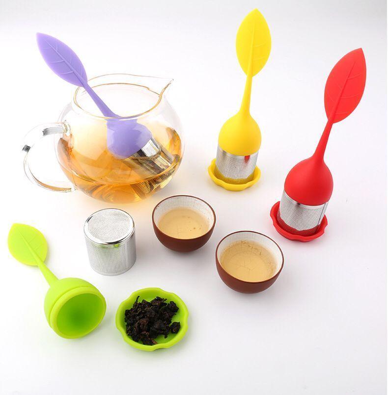 Gıda Tipi yapraklarıyla Yaratıcı Çaydanlık Strainers Silikon Çay Kaşığı demlik Şekle Paslanmaz Çelik Demleyiciler Süzgeç Filtre Yaprak Kapak Diffüz