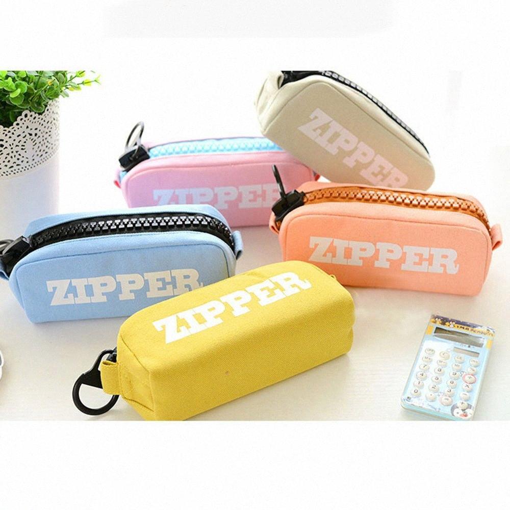 Pencil Case Cancelleria semplice portatile sacchetto della matita e pratico durevole compatto Zipper c2Gd #