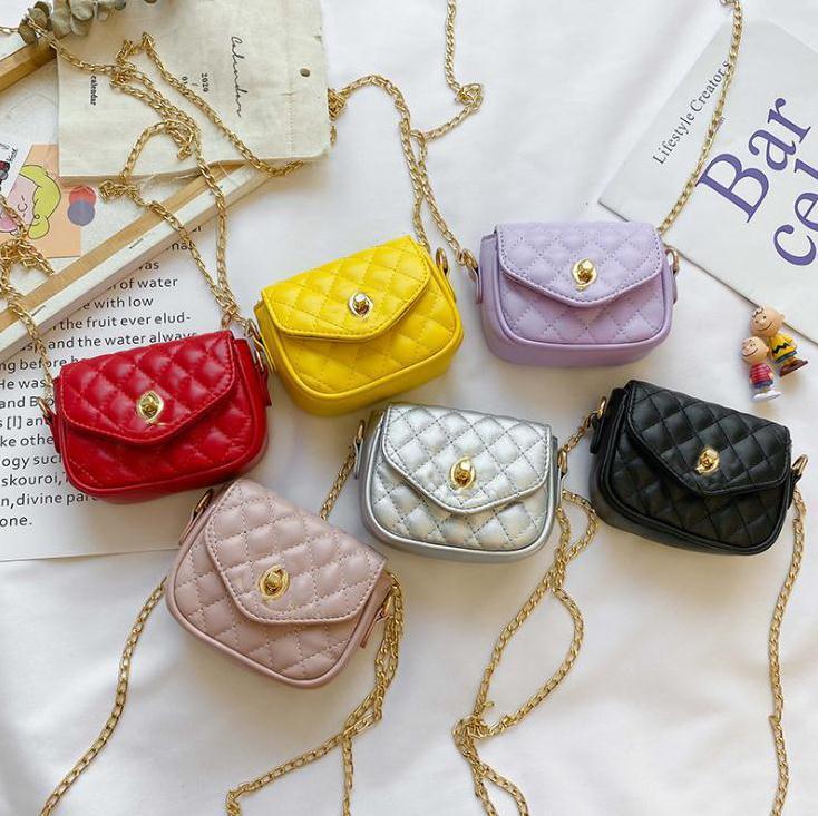 Crianças Mini Bolsa Outono Inverno Novos Crianças Pu Corrente Messenger Bag Meninas Acessórios Casuais Bolso Menina Crossbody Bag S489