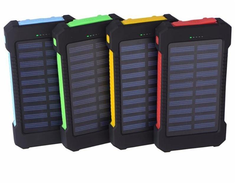 Caricatore della banca di energia solare calda 20000mAh con lampada a led batteria portatile portatile bussola all'aperto a doppia testa USB caricamento cellulare powerbank