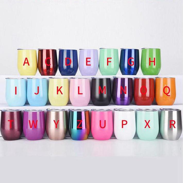 Edelstahl-Weinflasche 12 Unzen Eierbecher Tumbler mit Deckel Ei-Form-Becher Weingläser Vakuum-Wasserflasche Mini Becher Trinkgefäße WY960