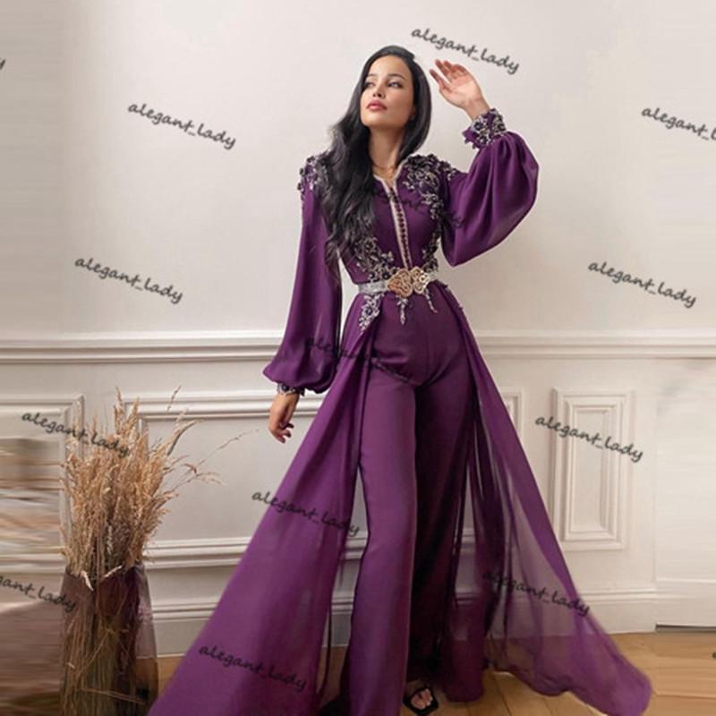 Purple Long Sleeve Evening Jumpsuit Dress with Overskirt 2021 Lace Beaded Chiffon Moroccan Kaftan Dubai Arabic Prom Pant Suit