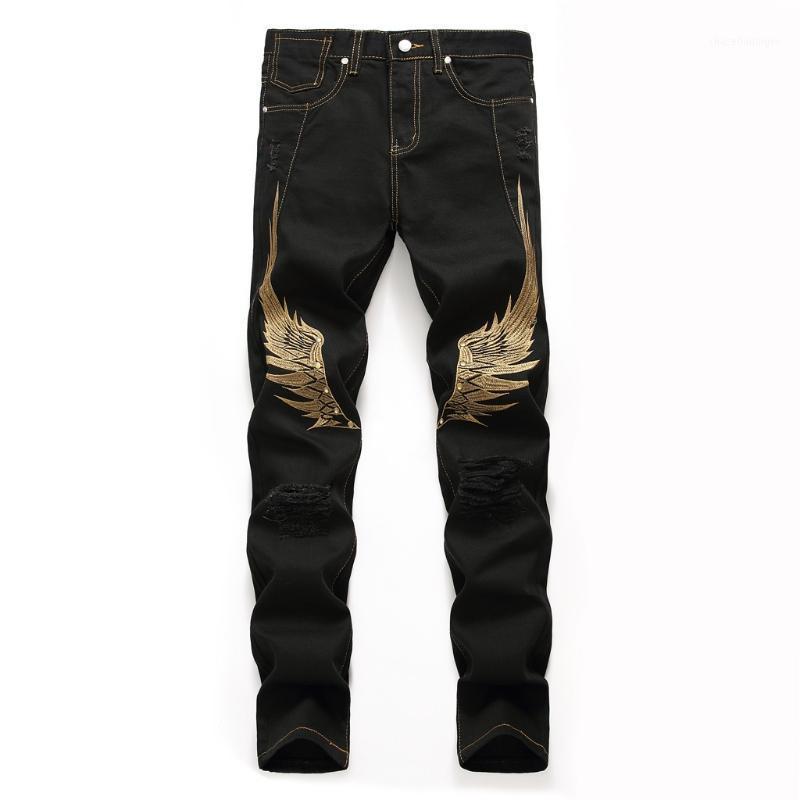 Мужские джинсы мужчины Slim Fit Мода повседневные джинсовые прямые мода Masculina вышивка дыры длинные брюки черный 2021 1