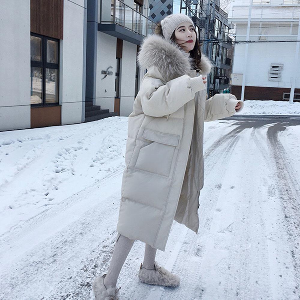 2020 femmes double face longue Veste d'hiver à capuchon blanc Manteau chaud Parkas neige Outwear coréenne Nouveau style Ropa Para Mujer