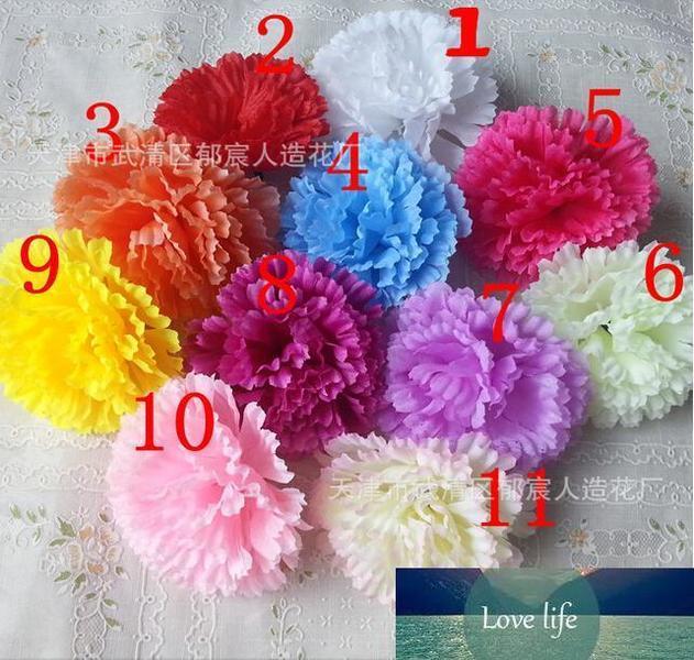 100PCS 9CM 11COLORS artificial carnation Silk flower DIY wedding decoration flowers wall flower bouquet kissing ball making