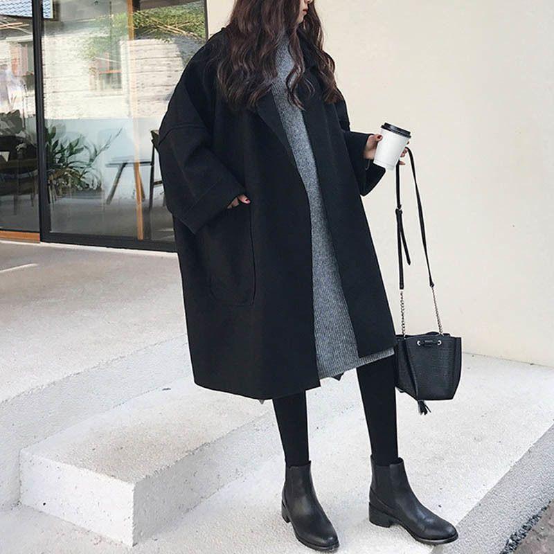 NORMOV 2019 beiläufige Frauen-Frühlings-Herbst-Kleidung Wollumhang Jacke Wolle-Mischungen Solid Color Batwing Sleeve V-Ausschnitt CoatX1020