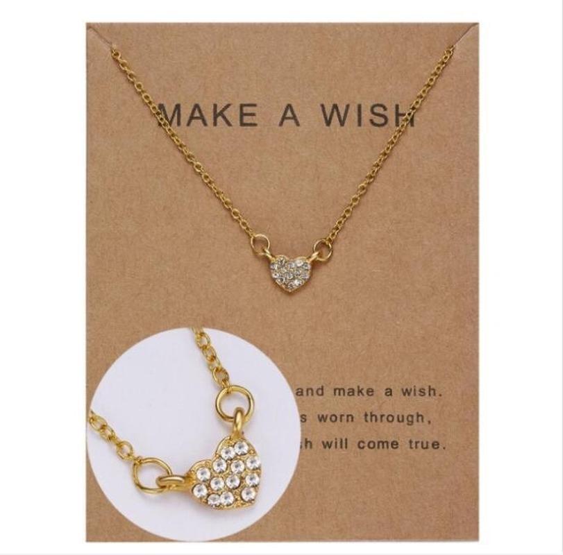 9 تصاميم النساء أزياء رغبة بطاقة قلادة القلائد 2020 جديد سحر الماس الحب قلادة القلب قلادة لصديقة عيد ميلاد هدية مجوهرات