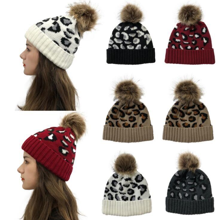 Stoffe Cappelli inverno delle donne leopardo sfera della pelliccia Copricapo Moda Pom Pom Berretti Caps calda lana lavorato a maglia il cappello del cofano Beanie partito 5 stili YL716