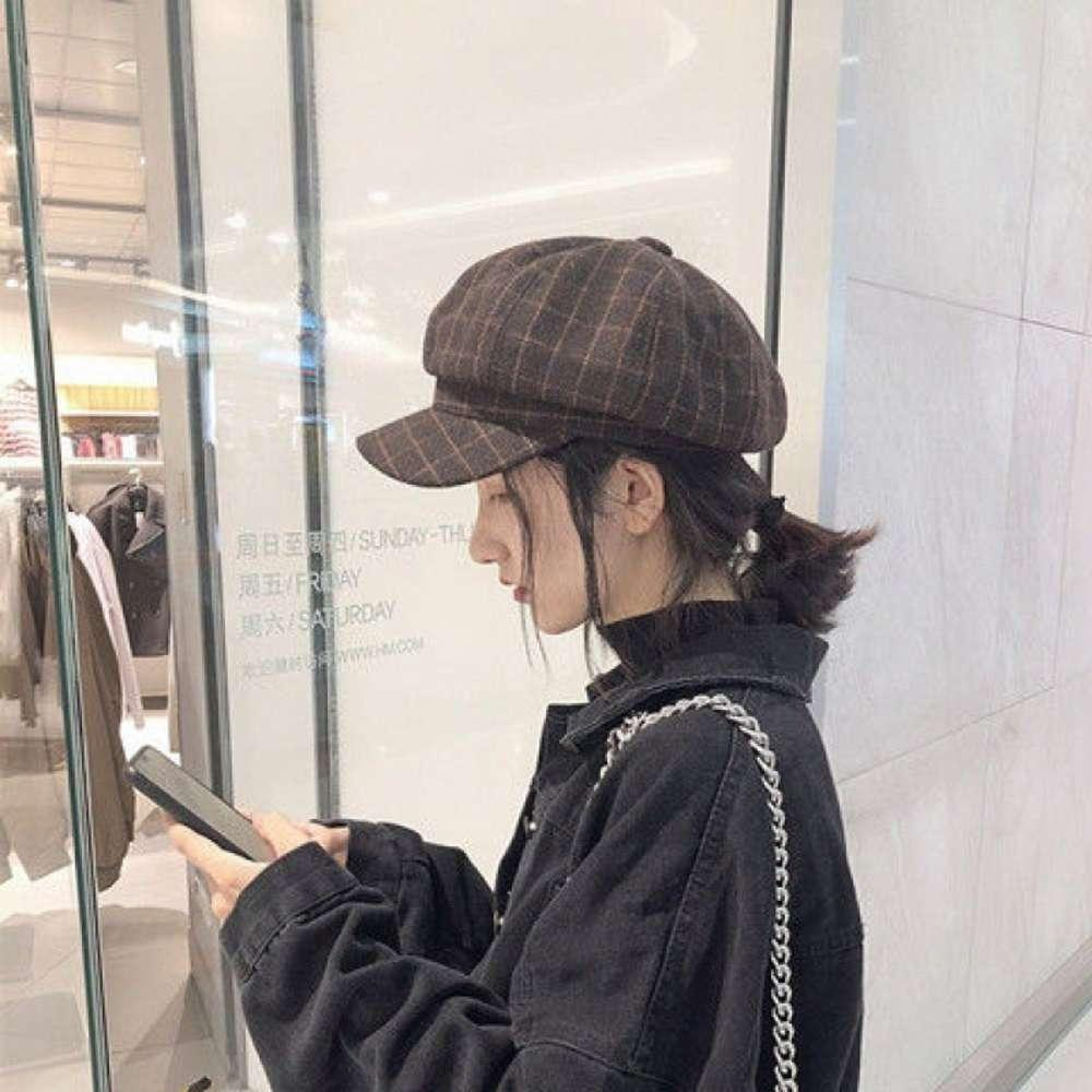 Versátil británica Versátil Newsboy Octogonal Versión coreana femenina Chic Net Red Literatura Pato Lengua Bailey Hat