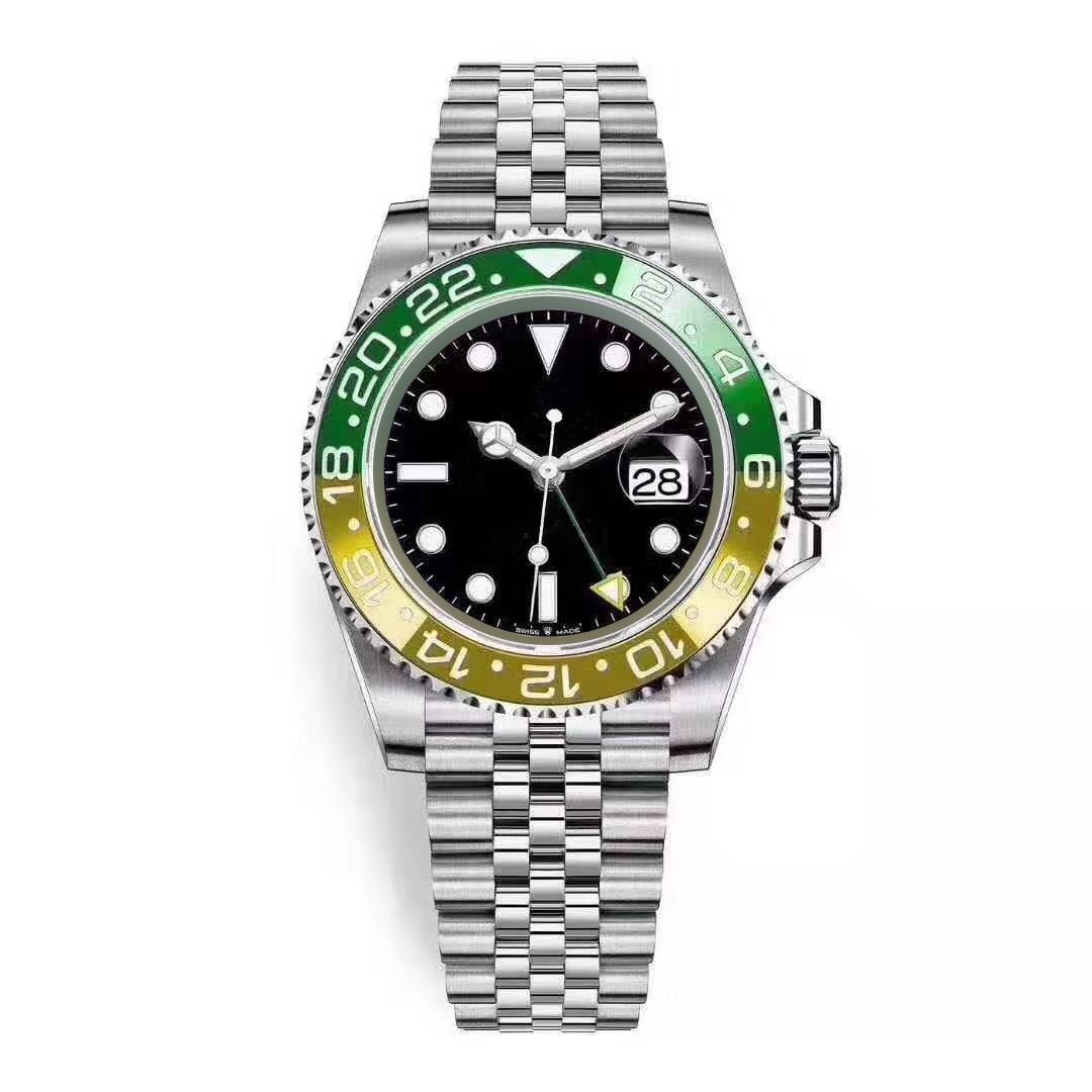 الأصفر الأخضر الساعات السيراميك الحافة رجل الحركة التلقائي ووتش مصمم اليوبيل حزام مضيئة الهروب بعيدا wristwatch كرونو مونتر هوم دي لوكس