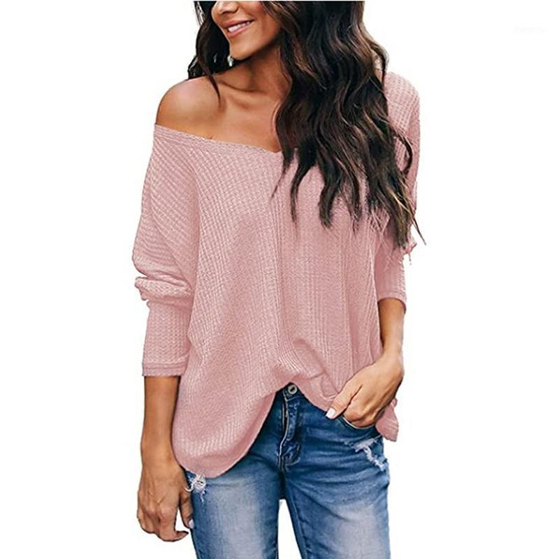 Spring Autumn Female T-Shirt Tops Solid Color V-Neck Long Sleeve Loose Fashion Casual Base Tees Shirt for Women Ladies New1