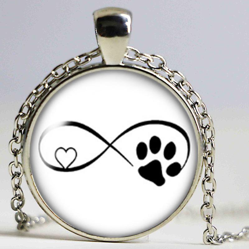 Love Cat pet footprints dogs glass cabochon necklace Bag CarHolder Charms silver plate necklacefor Men Women