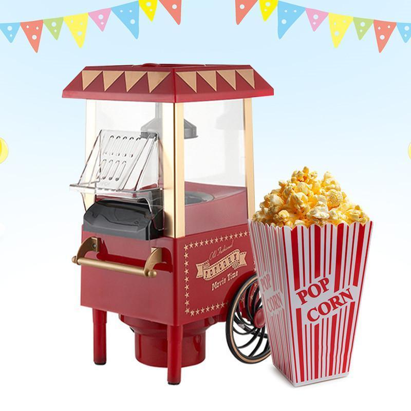 Vintage Retro Elektrik Popcorn Makinası Mini Elektrikli Karnaval Popcorn Maker 1200W Ev Partisi DIY Mısır