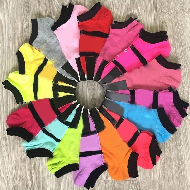 Moda Pembe Siyah Çorap Yetişkin Pamuk Kısa Ayak Bileği Çorap Spor Basketbol Futbol Gençler Amigo Yeni Sytle Kızlar Kadınlar Çorap Etiketler