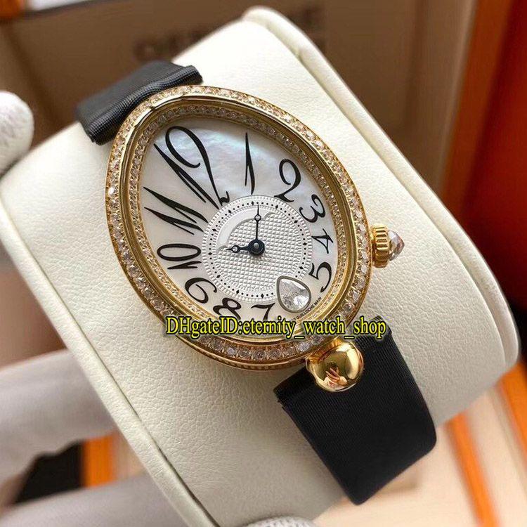 L8F Best-Version Gold Case Pearl Shell Dial Gelado Out Diamante Bezel 8918BA / 58/864 / D00D CAL.537 / 3 Automático Womens WATC 8918 Ladies-Relógios