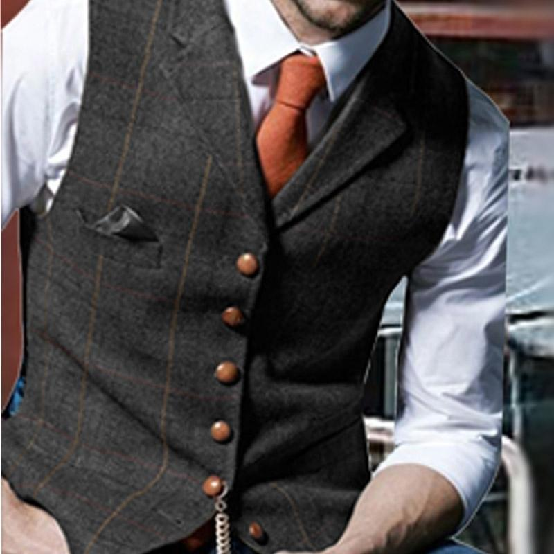 Chaleco para hombre Plaid Lana Herringbone Tweed Waistcoat con muesca solapa Negocio formal Groomman para Wedding Green / Negro / Verde / Gray 201105
