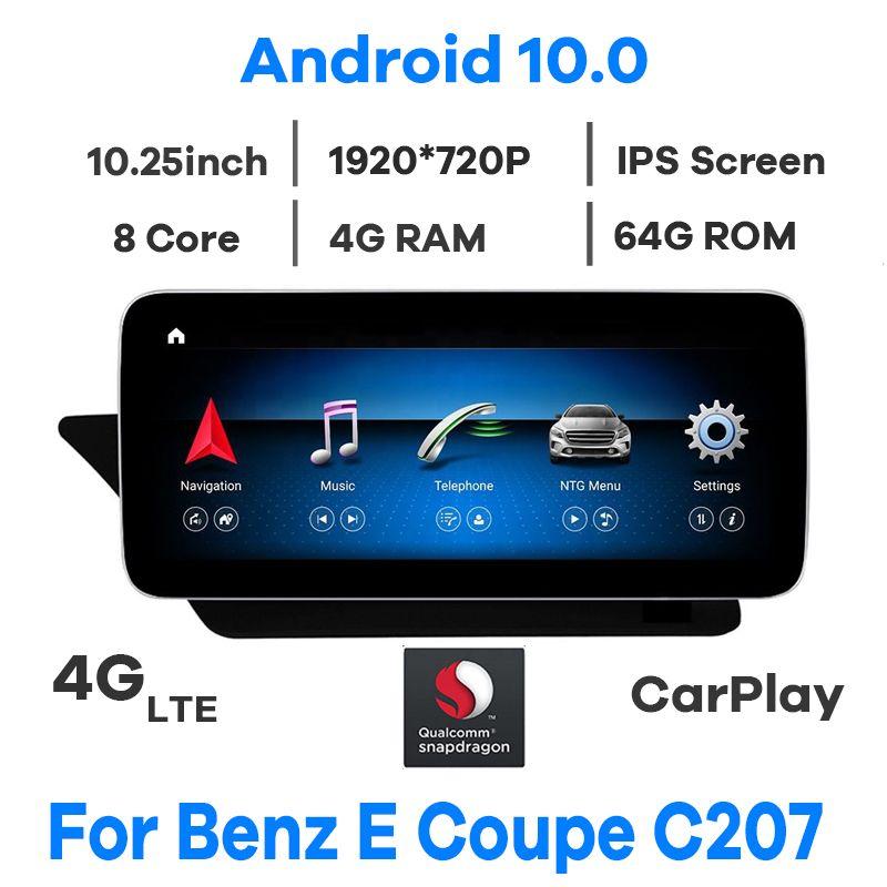 "10.25 ""Snapdragon Android 10.0 Carro Multimedia Player GPS Radio para Mercedes Benz e-Class de duas portas Coupé C207 W207 A207 2009-2016"