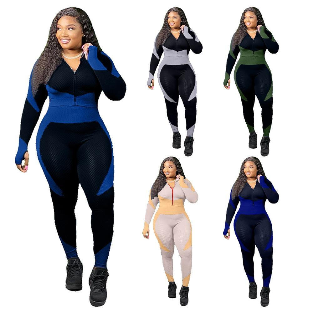 Women Tracksuit Two Piece Set Long Sleeve Sweatshirts Stitching Contrast Zipper Cardigan Leggings Outfits Ladies Stretch Fitness Yoga Suit
