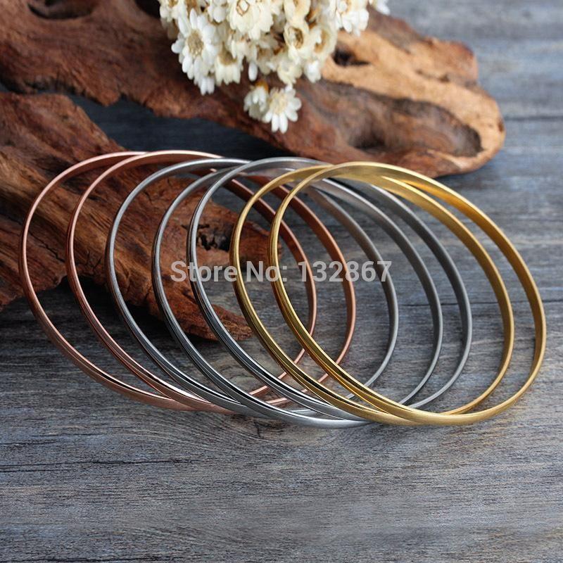 бесплатная доставка! 7шт / Set Gold / розовое золото Мода браслет из нержавеющей стали браслет 4 * 65мм