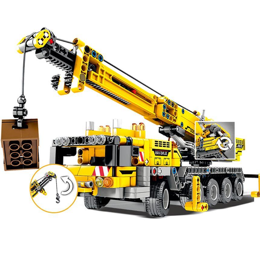 665pcs Técnica de Ingeniería del coche camión de bloques de creación Technic grúa de elevación Ciudad Construcción de ladrillo juguetes para niños WJ004 1008