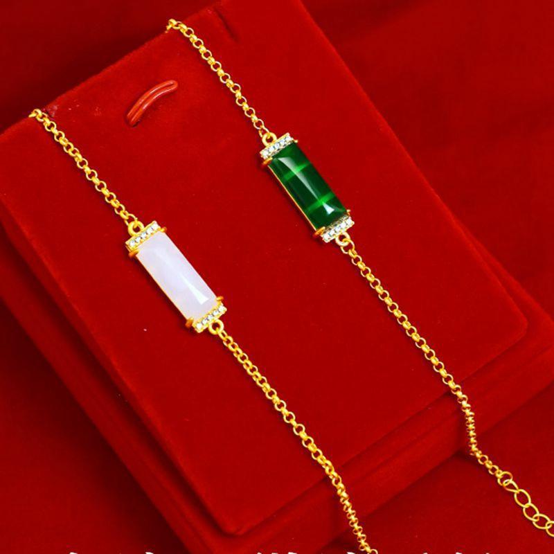 Acessórios Estilo de moda muito 18k Gold Filled Embutidos Chalcedony Gem Womens Pulseira tradicional simples de presente da jóia