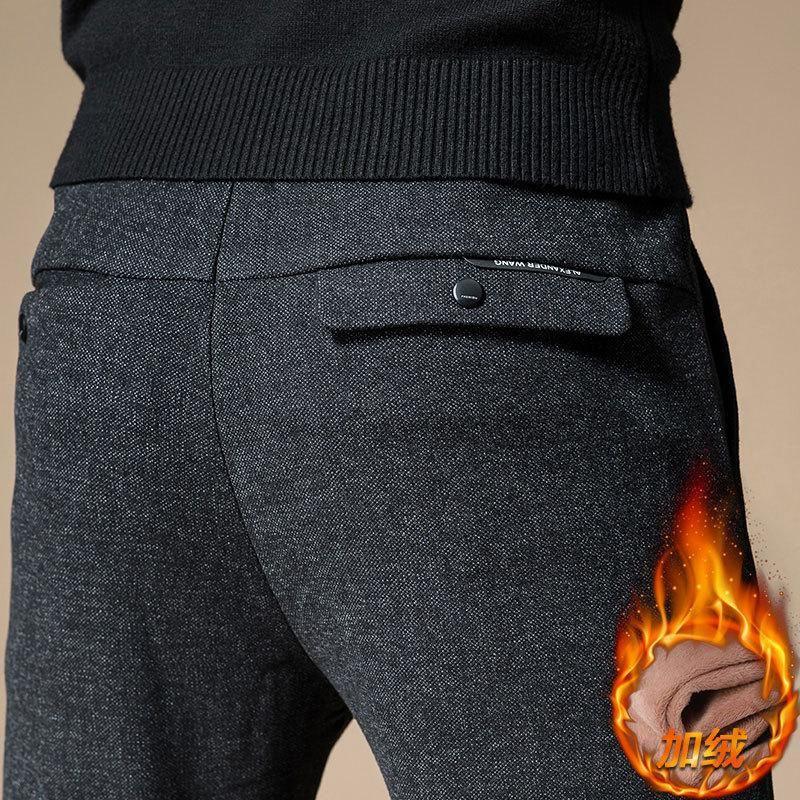 Мужские штаны 2021 зимняя зимняя теплая повседневная деловая мода классический стиль хлопчатобумажные растягивающиеся утолщенные брюки мужской бренд