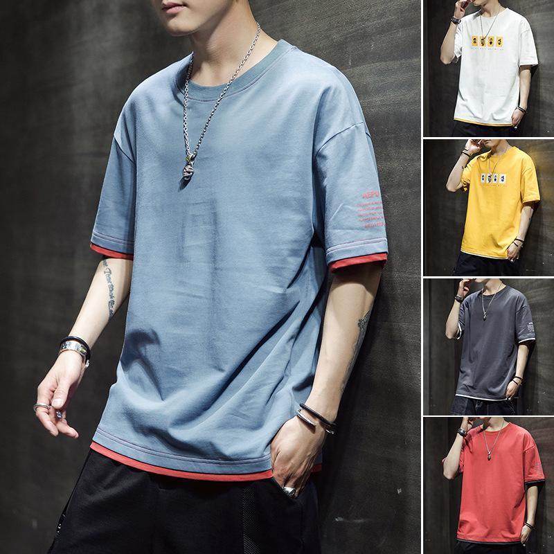 Мужские футболки 2021 летняя мода печатает футболку с короткими рукавами с круглым воротником Молодежный отдых