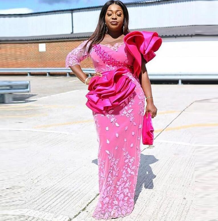 2021 Pink Prom Gowns With Sleeve abiye Straight Evening Dress Vestido Longo robe de soiree Ruffles Evening Dresses Applique
