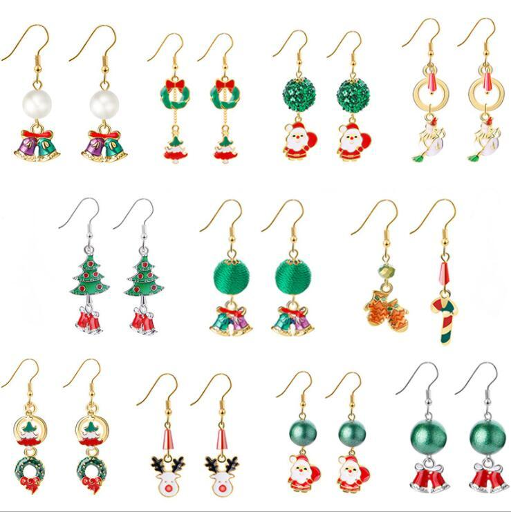 عيد الميلاد 11 أنماط للاطفال مجوهرات أقراط عيد ميلاد سعيد دير شجرة ندفة الثلج أقراط الاطفال هدية مجوهرات