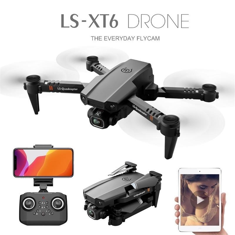 Neue LS-XT6 Mini RC-Drohne UAV-Quadrocopter WiFi FPV mit HD-Dual-Kamera 4K-Höhenhaut Faltbare vierachsige Flugzeuge Jimitu 201221