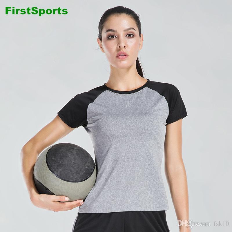 Женская Йога Топы Gym с коротким рукавом Фитнес Бег Спортивная срощенной Цвет Эластичный Quick Dry тренировки Спортивные футболки