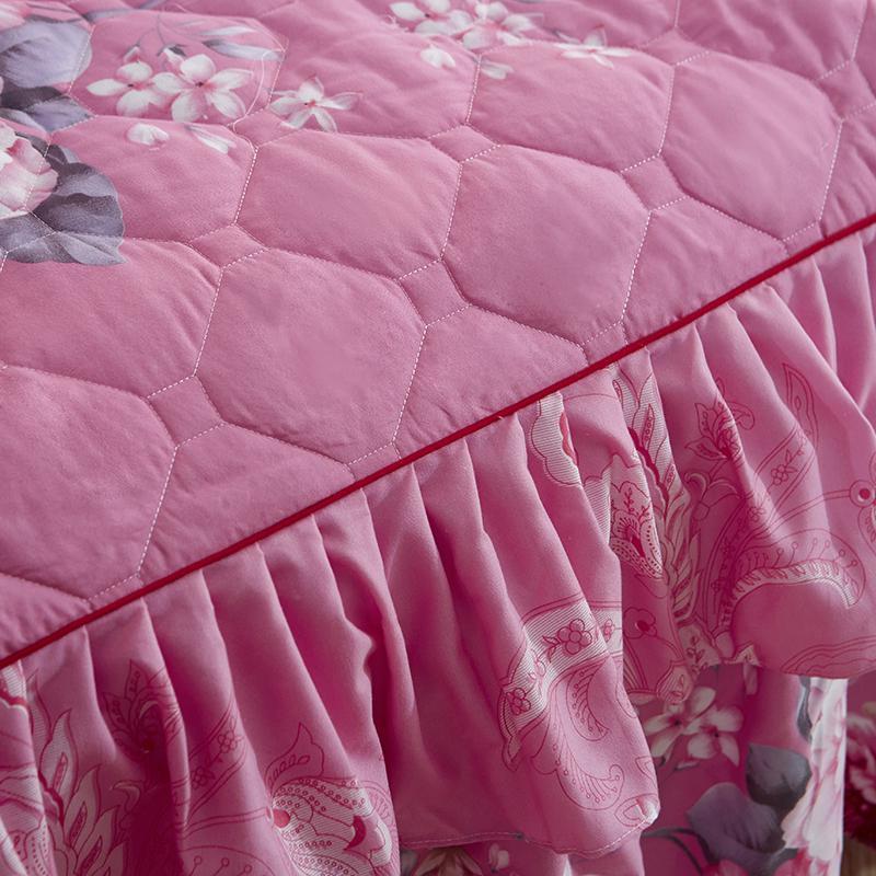 Nouveau Jupe matelassée à deux couches romantiques à deux couches épaissis de paquets de paquets de couvre-lit équipés couverts couverture de tôle douce antidérapante Jupes de lit Y200423