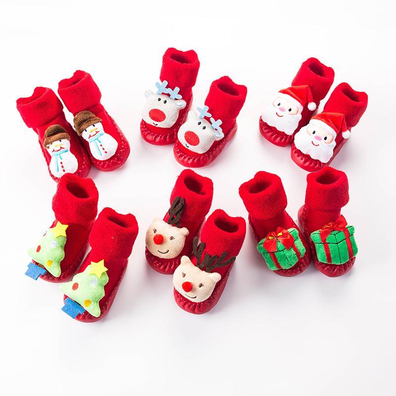 Sock bébé nouveau-né coton Noël rouge étage Antiderapant Chaussettes Elk Père Noël Enfant Fille Garçon Cartoon épais Sock pour l'hiver