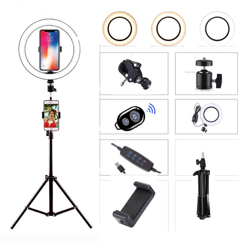 Led anel luminoso 26 centímetros Luz de vídeo de 10 polegadas Photo Studio Kits com tripé Fotografia Lighting Maquiagem para o telefone ao vivo do YouTube
