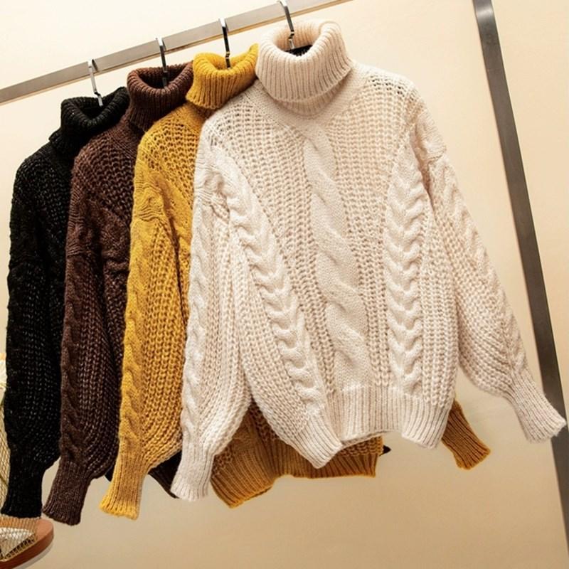 2020 осень и зима Новых вязать свитер водолазка свитеры Пуловер припуска женщин свитера Толстых женщина свитера