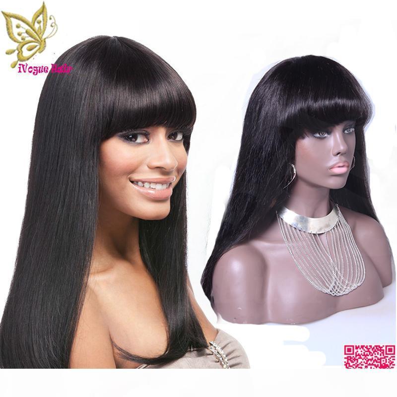 Silky droite en dentelle pleine perruques de cheveux humains Perucian humaine perruques avant de dentelle de cheveux avec une frange pour les femmes noires la meilleure qualité