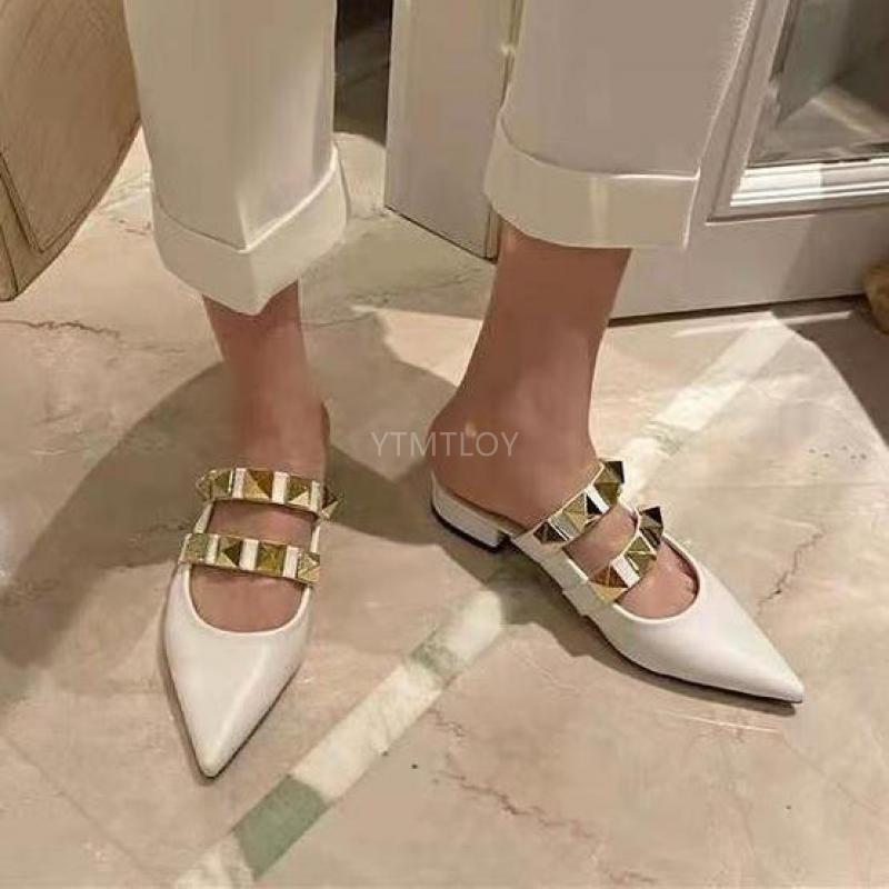 Shallow Chunky Heels Mules Women Slipper Leather Pointed Toe Slide Sexy Ladies Slip On Shoes Black Zapatillas Mujer Casa C0128