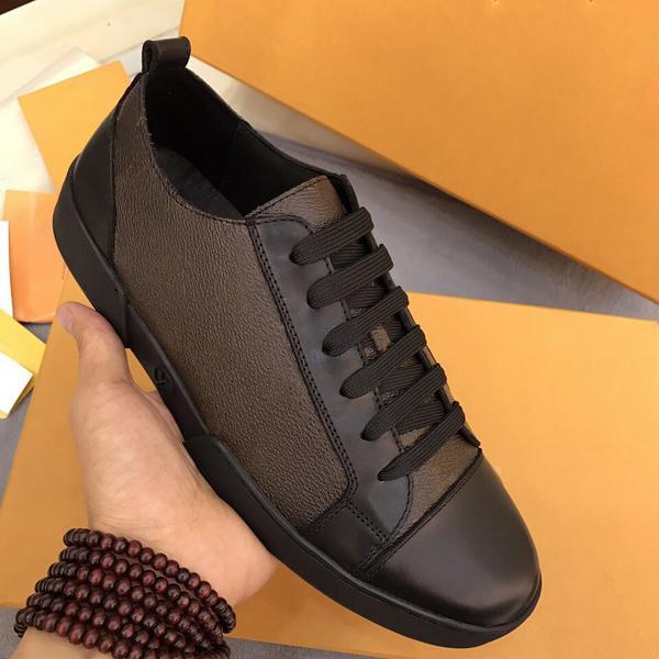 Classic Black Brown Men Shoes Real Leather Mens Sneakers Sneakers Mocassini Lace Up Low Top Fashion Casual Scarpe Designer Scarpe uomo con scatola taglia 38-45