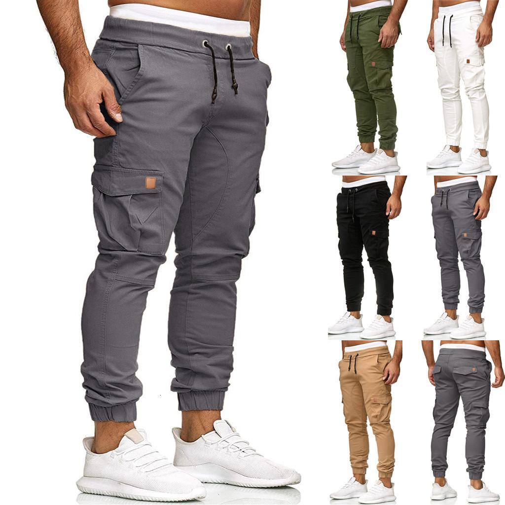 Nuevos 2019 larga de algodón pantalones rectos de los hombres pantalones deportivos pantalones informales elástico Chandals Deporte Sólido Bolsillos Pantalones holgados