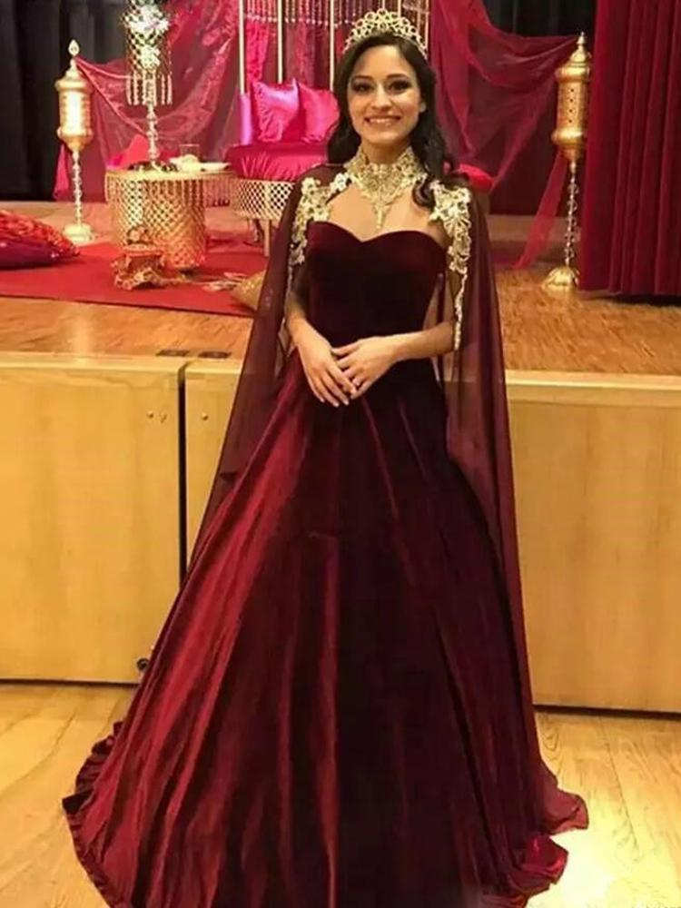 Elegant Saudi Arabic Burgundy Velvet Chiffon Evening Dresses with Cape Women Formal Gowns Party Wear High Neck Prom Dress L113