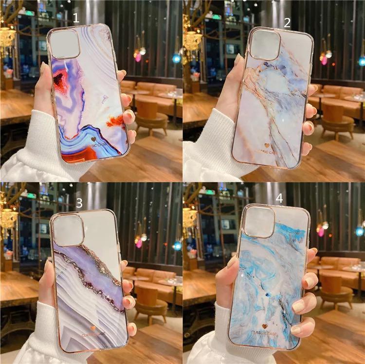 Nueva galvanoplastia mármol textura de plástico TPU cajas del teléfono de iPhone 11 12 Mini Pro Max XS xr 8 7 6 6s ultra delgado teléfono Volver cubierta de la caja de DHL