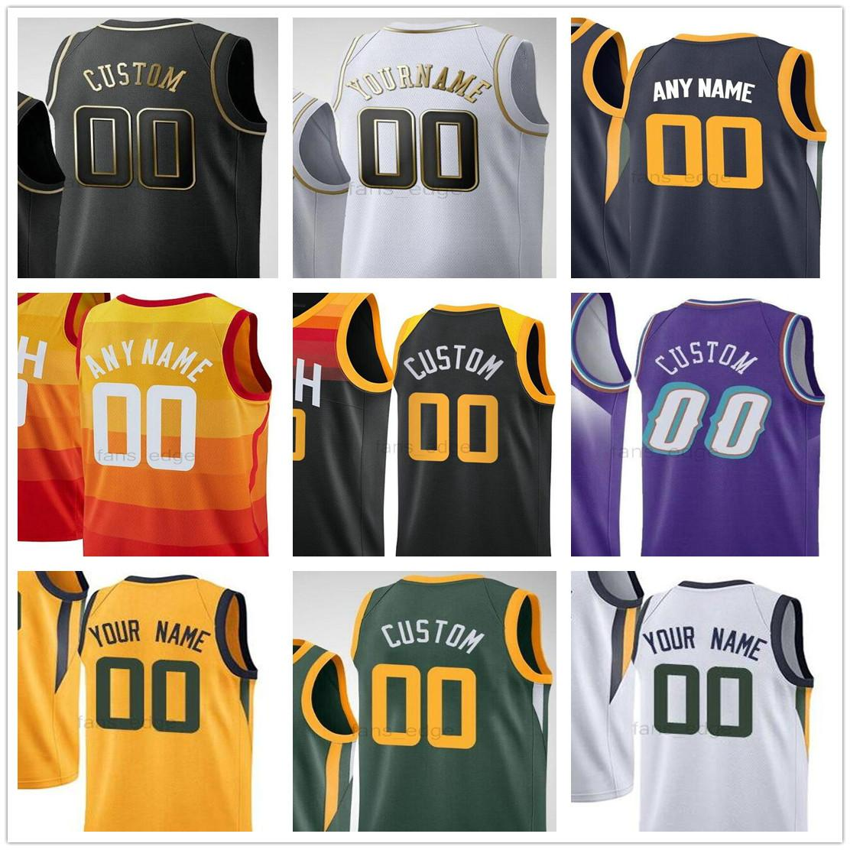 Personalizado impresso Donovan 45 Mitchell Mike 10 Conley Rudy 27 Gobert Bojan 44 Bogdanovic 00 Clarkson Homens Mulher Crianças Utah Jazz Basketball Jerseys