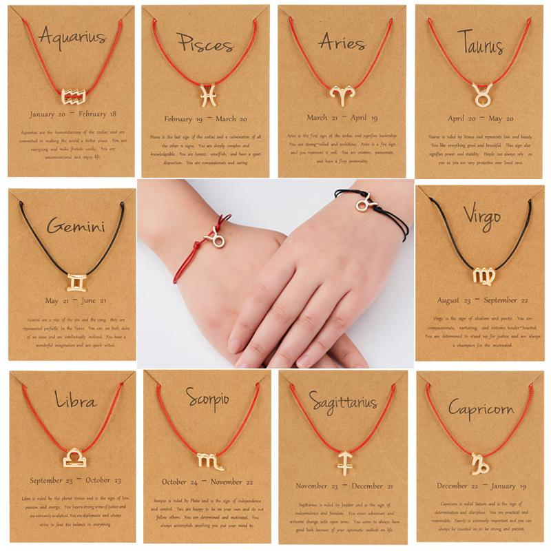 Symbole de la personnalité en gros de douze constellations Constellations Constellation Bracelet à la main Tradition à la main Tradition à la main Livraison Gratuite