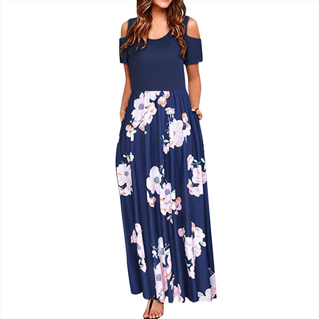 Женщины Cold Shoulder летнее платье Карман Цветочные печати Элегантный Maxi с коротким рукавом повседневные платья женщины партии ночь vestidos Verano