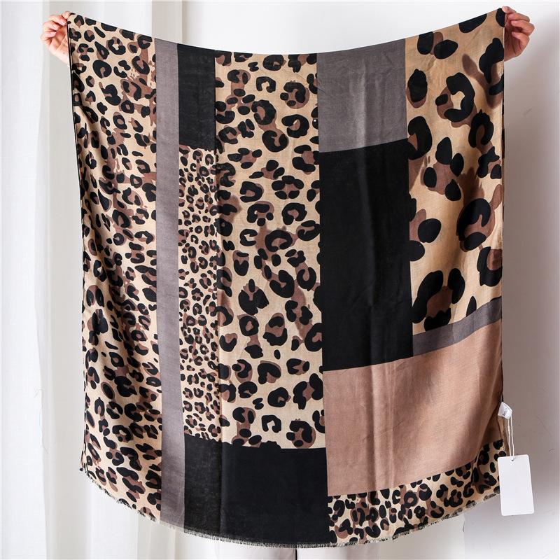 Новая мода осень Женщины вискоза шарф Leopard Лоскутная Пляж Хиджаб шали и палантины Женский Foulards Echarpe мусульманская Sjaal Y201007