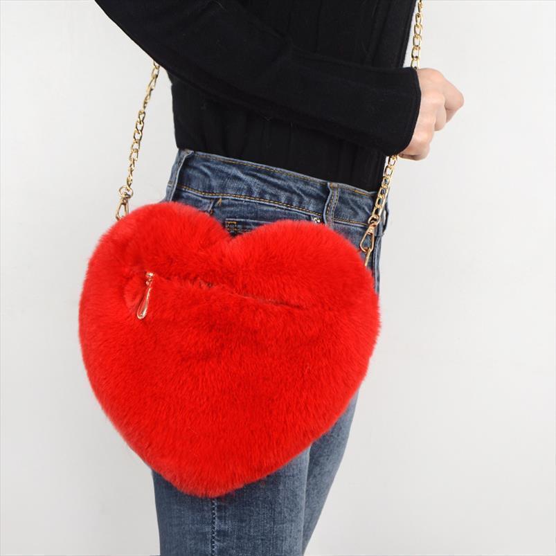 Fax Fur Amar ombro das senhoras do coração Saco Mulheres Mini Plush Messenger Bag Amor Forma Mão Fashion Girls Partido Bolsas