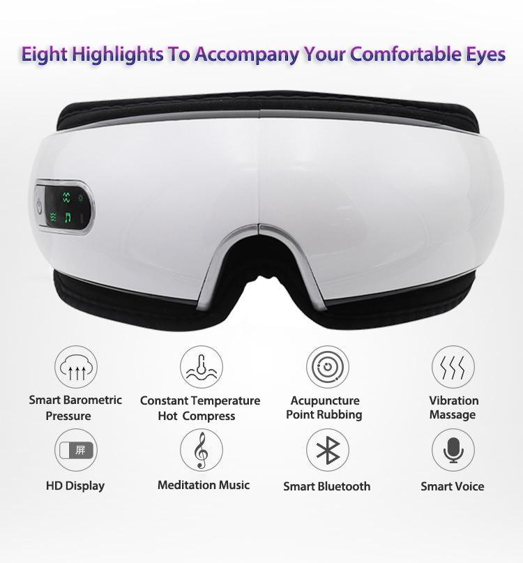 الذكية USB قابلة للشحن العين الكهربائية مدلك نظارات ضغط الهواء طوي موسيقى بلوتوث