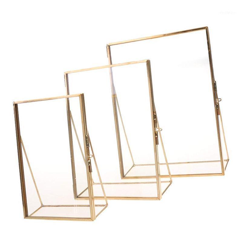 Einfache antike rechteckige freistehende transparente Gl-Fotorahmen für Dekoration - Gold1