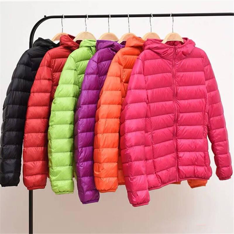 Women Winter Casual Down down hooded jackets Plus Size Ultra-light Coat Warm Windproof Long Sleeve Coats Parka female Outwear 201118
